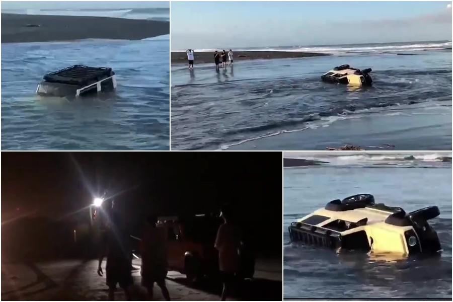 影音∕自小客車翻覆新城溪 水中載沉載浮警急救援
