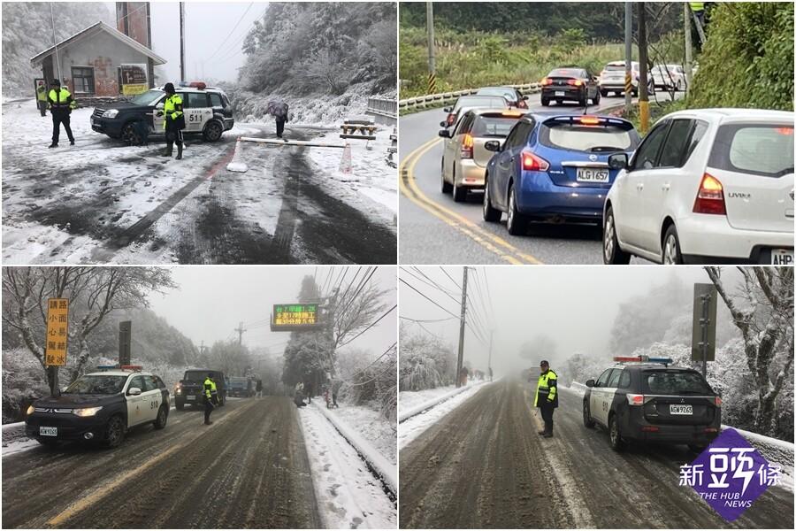 太平山區飄雪 警方全力執行雪地交管勤務